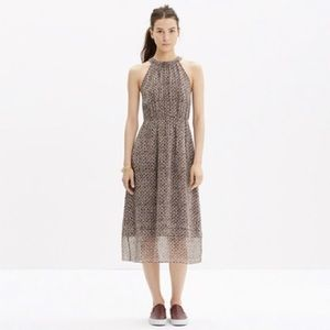 Madewell Silk Midi Dress in Diamond Tile